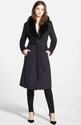 Ellen Tracy Women's Genuine Fox Collar Wool Blend Long Wrap Coat Navy
