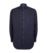 Peter Millar Cotton Silk Shirt Male Navy