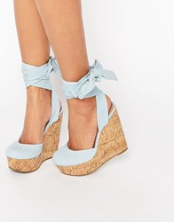 Asos Oracle Tie Leg Wedges Denim Blue