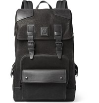 Belstaff Tourmaster Leather Trimmed Nubuck Backpack Black