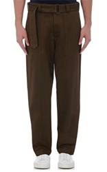 Tomorrowland Men's Cotton Wide Leg Field Trousers Green