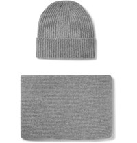 William Lockie Ribbed Cashmere Hat And Scarf Set Gray