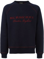 Burberry Logo Print Sweatshirt Blue