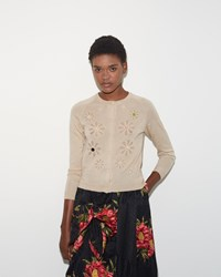 Simone Rocha Beaded Flower Cardigan Camel