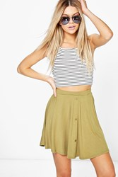 Boohoo Button Front Jersey Skater Skirt Olive
