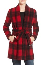 Bcbgeneration Women's Shawl Collar Wool Blend Coat Red Plaid