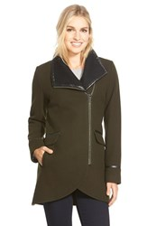 Women's Trina Turk 'Mackenzie' Asymmetric Zip Leather Trim Coat Olive