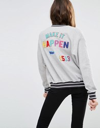 Pull And Bear Pullandbear Jersey Bomber With Make It Happen Slogan Black