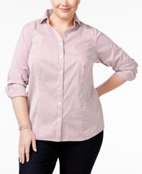 Charter Club Plus Size Pinstriped Boyfriend Shirt Only At Macy's Red Garnet Combo