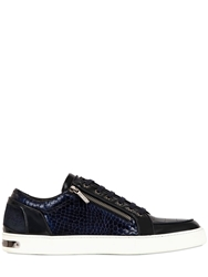 Botticelli Limited Embossed Leather Patent And Suede Sneakers Navy
