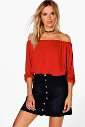 Boohoo Off The Shoulder Long Sleeve Top Rust