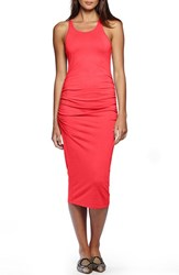 Women's Michael Stars Ruched Side Racerback Midi Dress Tomato
