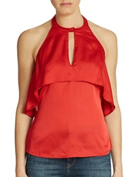 Guess Ruffled Halter Top Rust Red