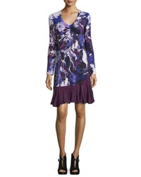 Roberto Cavalli Long Sleeve Floral Ruffle Hem Dress Purple