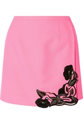 Christopher Kane Leather Embellished Wool Crepe Mini Skirt Pink