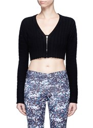 Live The Process 3D Printed Chunky Rib Knit Cropped Cardigan Black