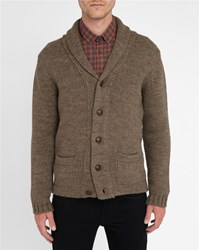 M.Studio Inactive Mink Coloured Antonin Shawl Collar Wool Blend Cardigan