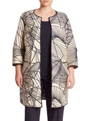 Lafayette 148 New York Darby Spiral Jacquard Reversible Coat Raffia Multicolor