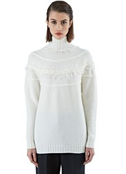 Agnona Roll Neck Fringed Sweater Ivory