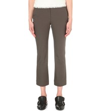 Theory Avla Slim Fit Cotton Twill Trousers Dark Moss
