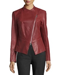 Lafayette 148 New York Asymmetric Zip Leather Jacket Date