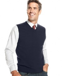 Club Room Men's Big And Tall Cashmere Solid Sweater Vest Midnight Blue