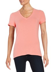 Lord And Taylor Stretch Cotton V Neck Tee Grapefruit