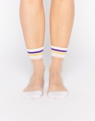 Monki Sheer Sports Socks White