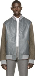 Thom Browne Grey And Brown Leather Bomber