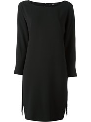 Steffen Schraut Fringed Boat Neck Dress Black