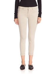 J Brand Anja Cuffed Cropped Luxe Sateen Jeans Biscut