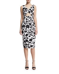 Michael Kors Sleeveless Floral Print Cotton Sheath Dress Black White