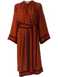 Michael Kors Belted Cube Print Dress Red