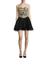 Blondie Nites Floral Applique Rhinestone Strapless Fit And Flare Dress Black Gold