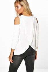 Boohoo Open Shoulder Wrap Back T Shirt Cream