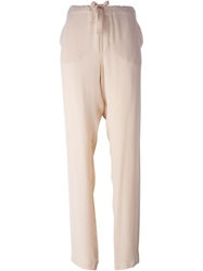 Tomas Maier Crepe Drawstring Trousers Nude And Neutrals