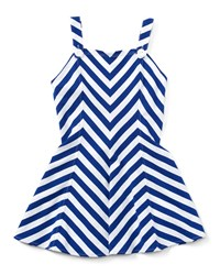 Ralph Lauren Childrenswear Sleeveless Striped Fit And Flare Jersey Dress Blue Size 5 6X Girl's Size 6X