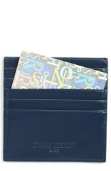 Opening Ceremony Women's Logo Embossed Calfskin Leather Square Card Holder Blue Ink