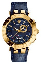 Versace 'V Race Gmt' Round Leather Strap Watch 46Mm Blue Gold