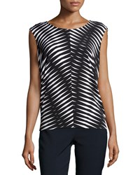 Natori Chevron Sleeveless Top Black Multi