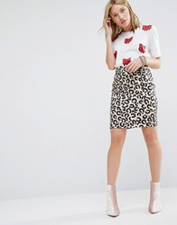 Love Moschino Animal Print Pencil Skirt Beige Cream