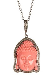 Diamond And Coral Onyx Buddha Pendant Necklace Red