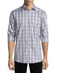 Neiman Marcus Classic Fit Regular Finish Plaid Sport Shirt Brown Gray