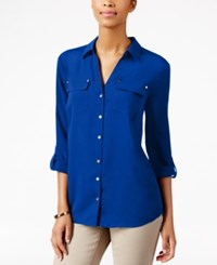 Charter Club Utility Shirt Only At Macy's Modern Blue