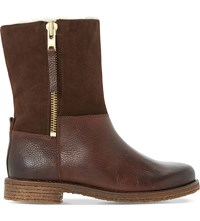 Dune Russell Faux Fur Lined Leather Boots Tan Leather
