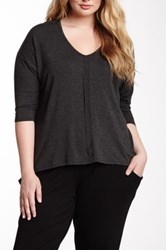 Loveappella 3 4 Length Sleeve Dolman Shirt Plus Size Gray