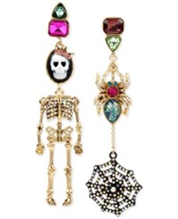 Betsey Johnson Tri Tone Cameo Skeleton And Spider With Web Mismatch Earrings Multi