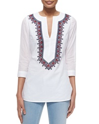 Tory Burch 3 4 Sleeve Embroidered Cotton Tunic White
