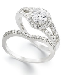 B. Brilliant Sterling Silver Ring Set Cubic Zirconia Engagement Ring And Wedding Band Set 1 1 4 Ct. T.W.