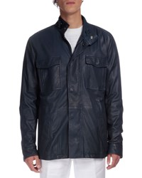 Berluti Leather Field Jacket Navy